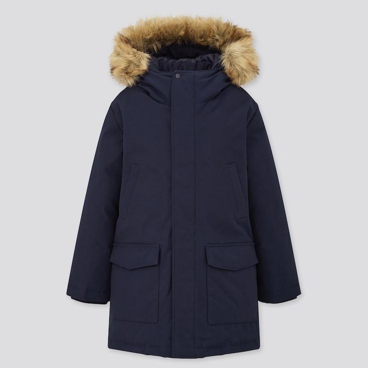 Kids Warm Padded Coat, Navy, Large