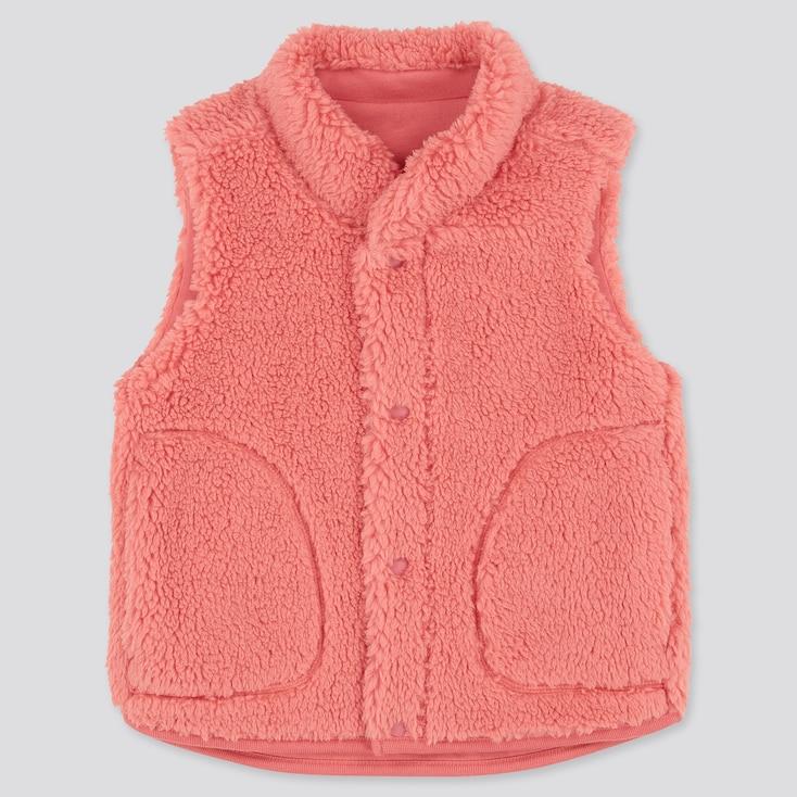 Toddler Fluffy Yarn Fleece Vest, Pink, Large