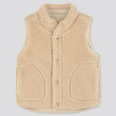 Toddler Fluffy Yarn Fleece Vest, Beige, Medium