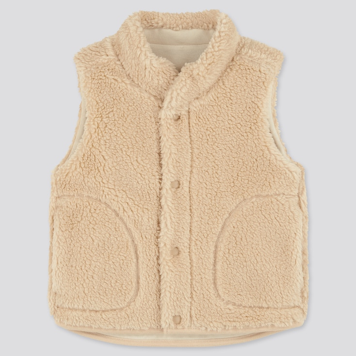 Toddler Fluffy Yarn Fleece Vest, Beige, Large