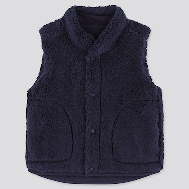Toddler Fluffy Yarn Fleece Vest, Navy, Medium