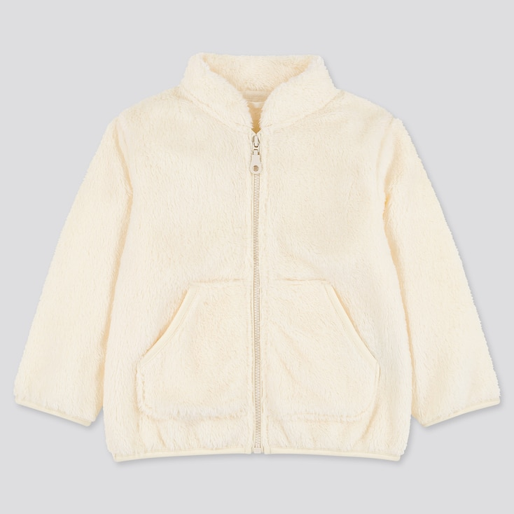 Toddler Fluffy Yarn Fleece Long-Sleeve Jacket, Off White, Large