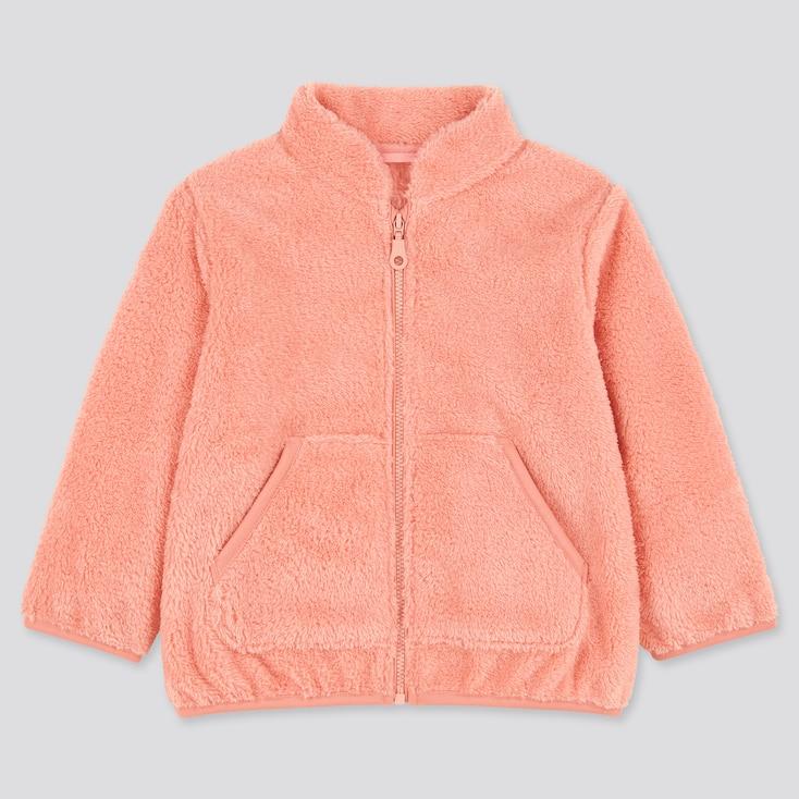 Toddler Fluffy Yarn Fleece Long-Sleeve Jacket, Pink, Large