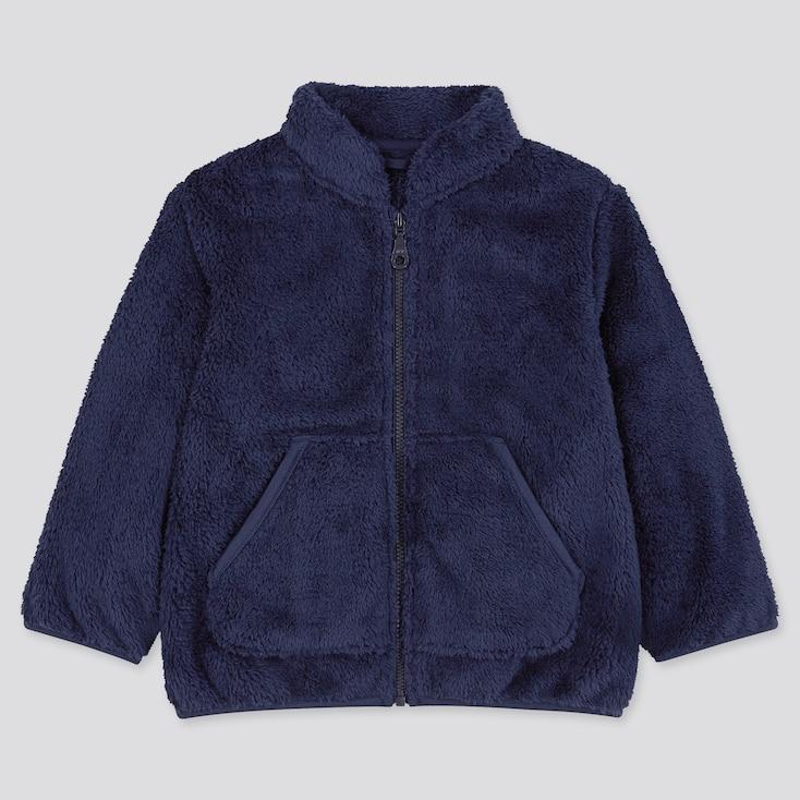 Toddler Fluffy Yarn Fleece Long-Sleeve Jacket, Navy, Large