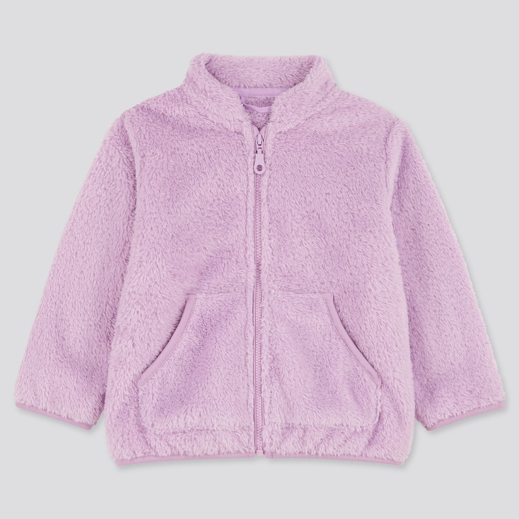 Toddler Fluffy Yarn Fleece Long-Sleeve Jacket, Light Purple, Large