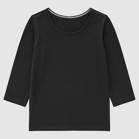 T-Shirt Cotone Elastico Caldo Collo Rotondo Maniche Lunghe Neonato Bambino