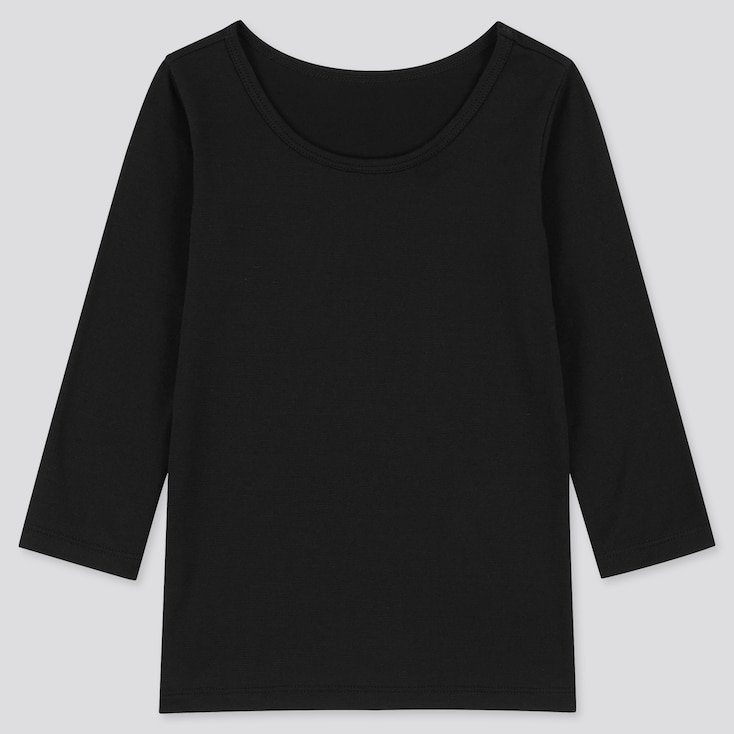 Toddler Heattech Scoop Neck Long-Sleeve T-Shirt, Black, Large