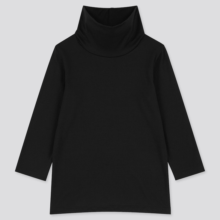 Toddler Heattech Turtleneck Long-Sleeve T-Shirt, Black, Large