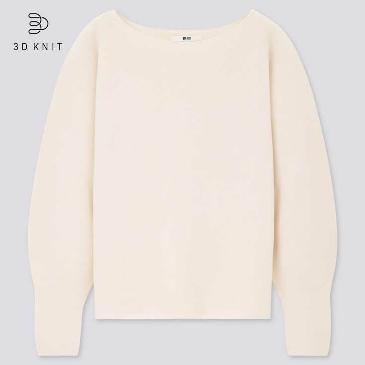Women 3d Knit Cotton Boat Neck Sweater, Off White, Large