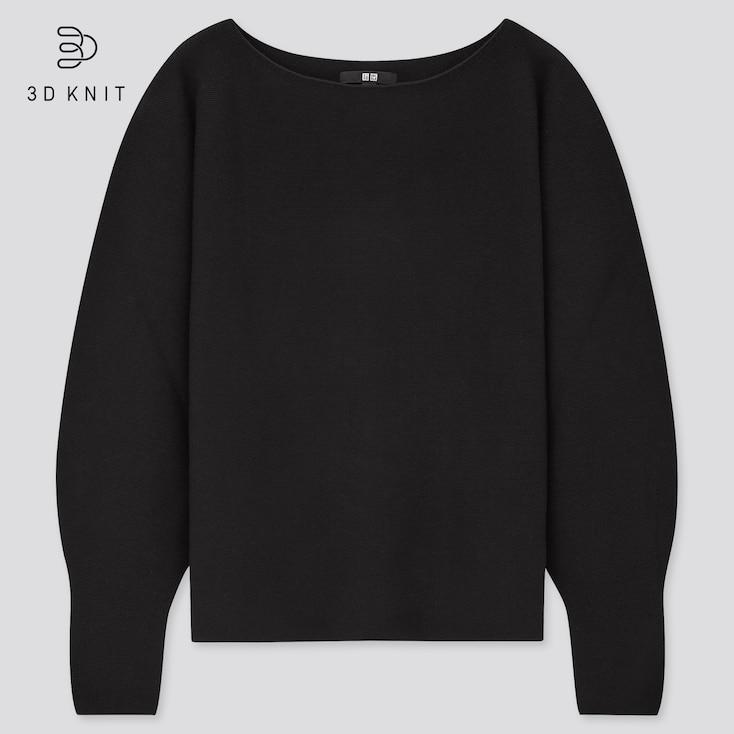 Women 3d Knit Cotton Boat Neck Sweater, Black, Large