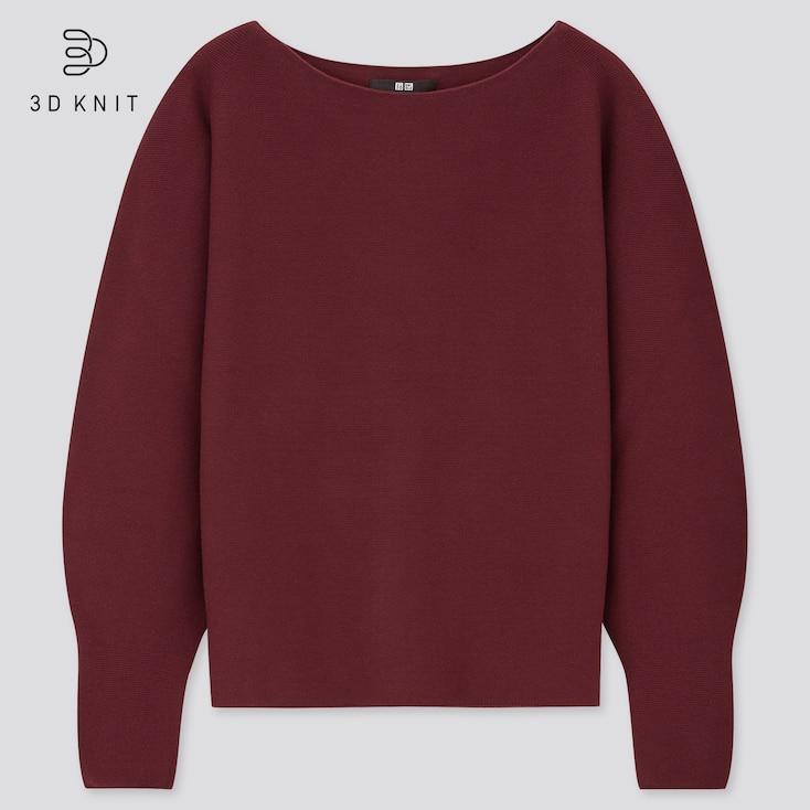 Women 3d Knit Cotton Boat Neck Sweater, Wine, Large