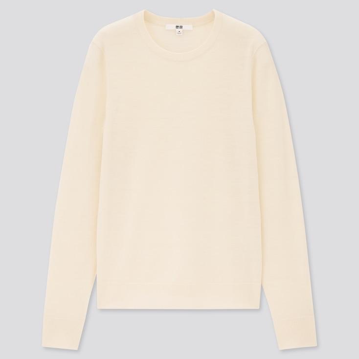 Women Extra Fine Merino Crew Neck Sweater, Off White, Large