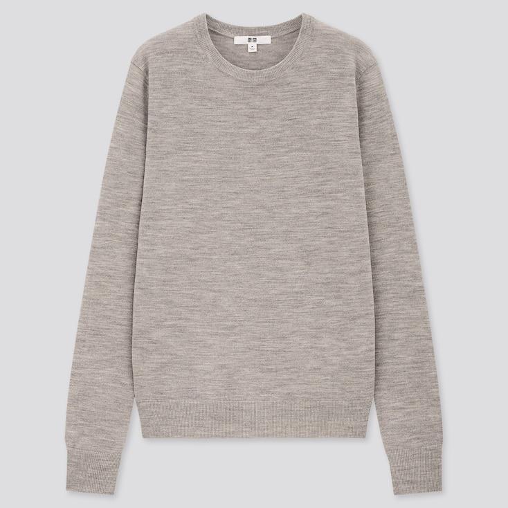 Women Extra Fine Merino Crew Neck Sweater, Gray, Large