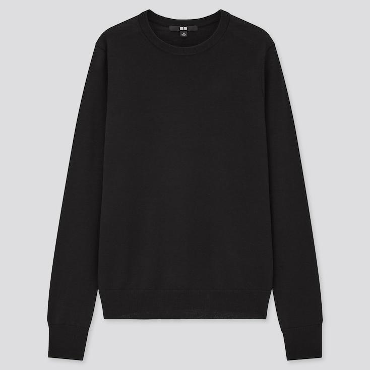 Women Extra Fine Merino Crew Neck Sweater, Black, Large
