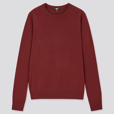 Women Extra Fine Merino Crew Neck Sweater, Wine, Medium