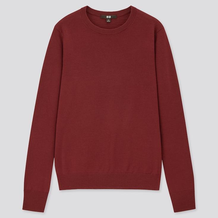 Women Extra Fine Merino Crew Neck Sweater, Wine, Large