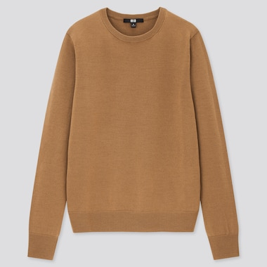 Women Extra Fine Merino Crew Neck Sweater, Brown, Medium
