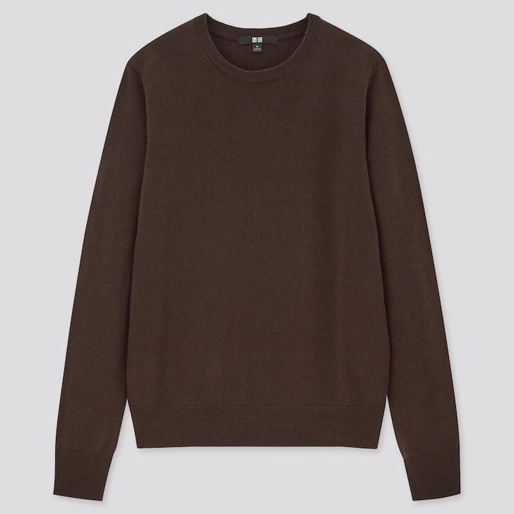 Women Extra Fine Merino Crew Neck Sweater, Dark Brown, Large