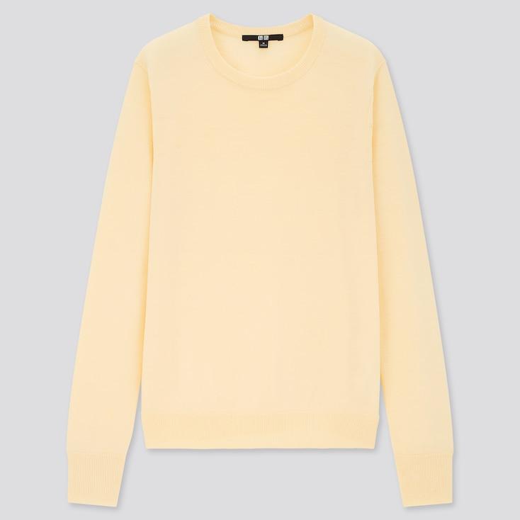 Women Extra Fine Merino Crew Neck Sweater, Cream, Large