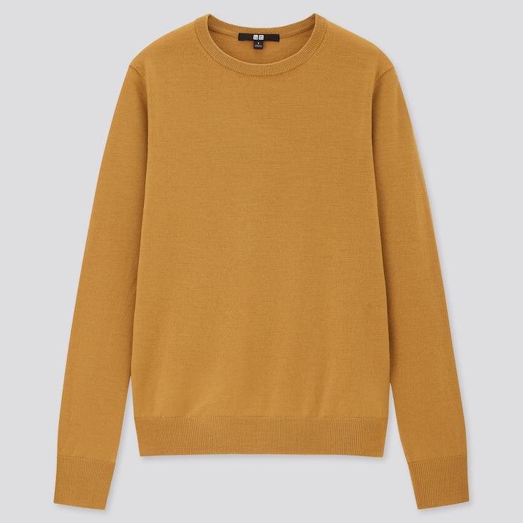 Women Extra Fine Merino Crew Neck Sweater, Mustard, Large