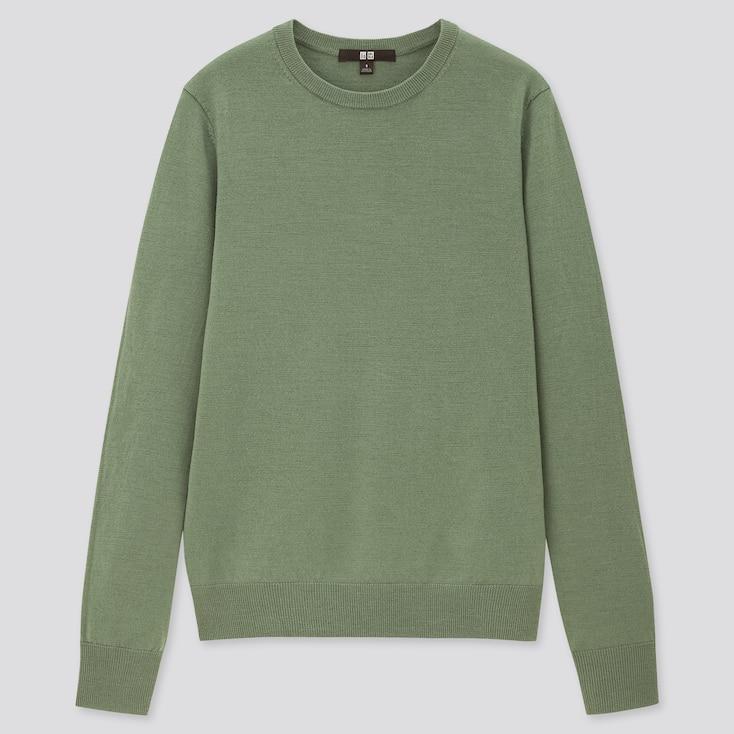 Women Extra Fine Merino Crew Neck Sweater, Green, Large