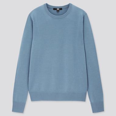Women Extra Fine Merino Crew Neck Sweater, Blue, Medium