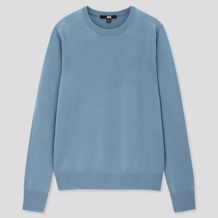 Women Extra Fine Merino Crew Neck Sweater, Blue, Large