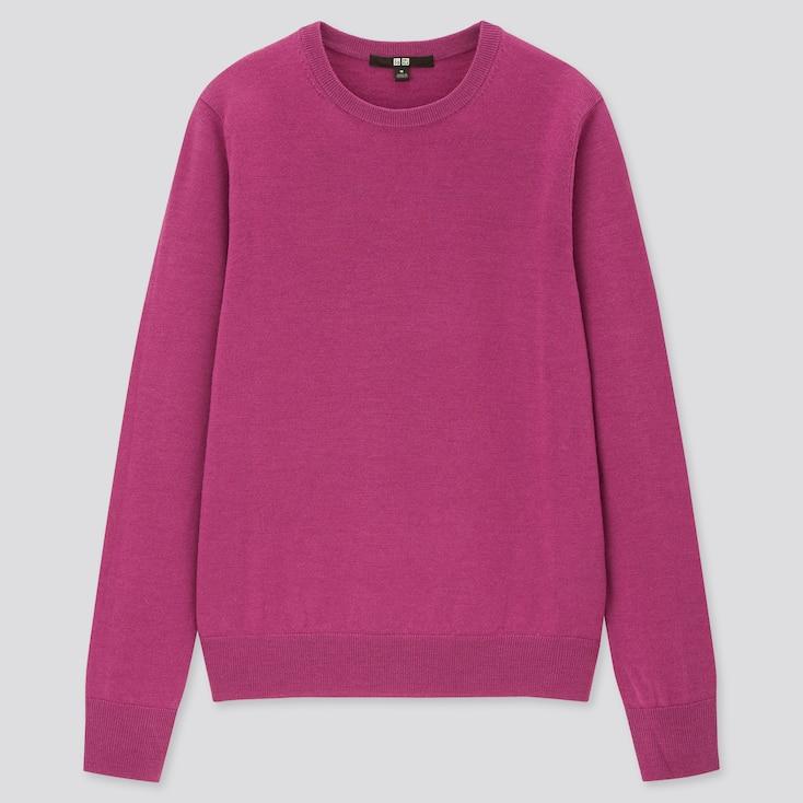 Women Extra Fine Merino Crew Neck Sweater, Purple, Large