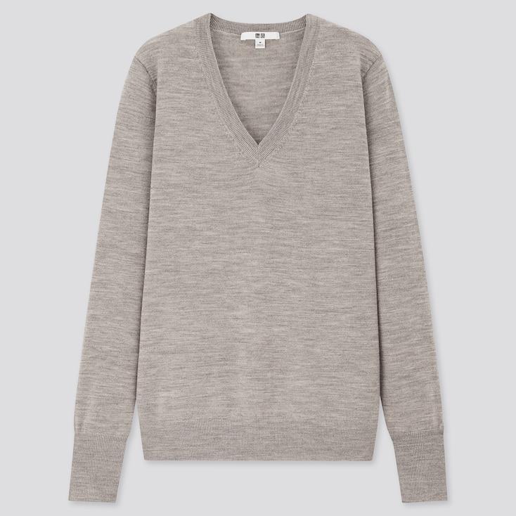 Women Extra Fine Merino V-Neck Sweater, Gray, Large