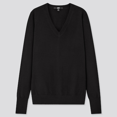 Women Extra Fine Merino V-Neck Sweater, Black, Medium