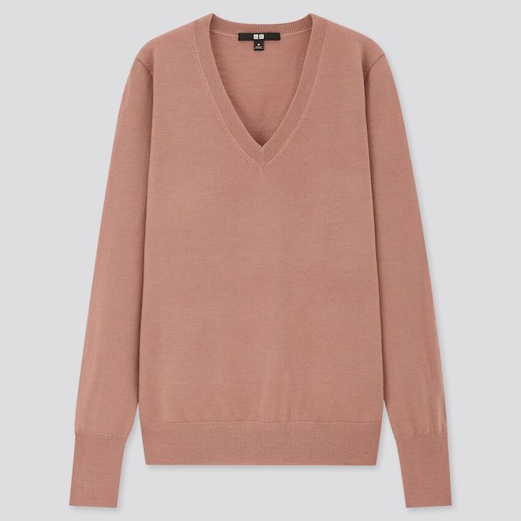 Women Extra Fine Merino V-Neck Sweater, Pink, Large
