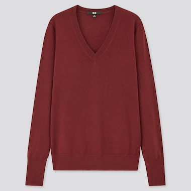 Women 100% Extra Fine Merino Wool V Neck Jumper