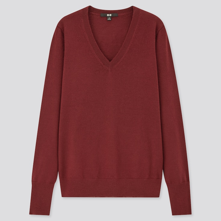 Women Extra Fine Merino V-Neck Sweater, Wine, Large