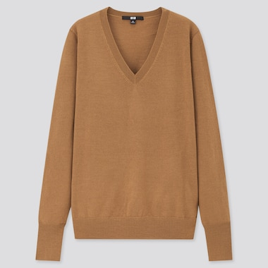 Women Extra Fine Merino V-Neck Sweater, Brown, Medium