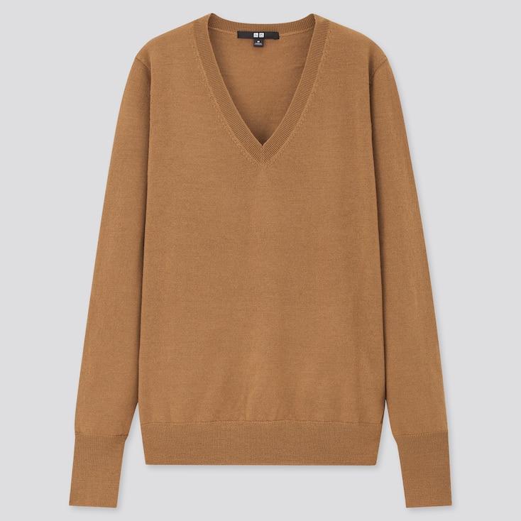 Women Extra Fine Merino V-Neck Sweater, Brown, Large
