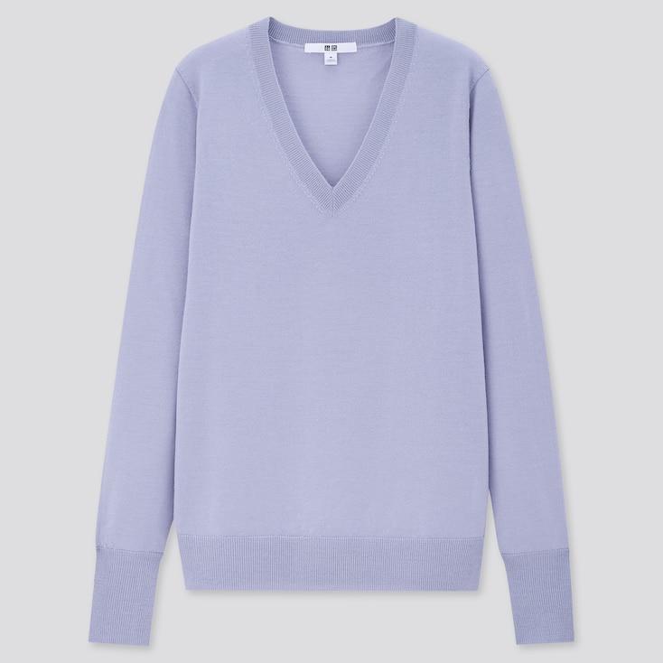 Women Extra Fine Merino V-Neck Sweater, Blue, Large