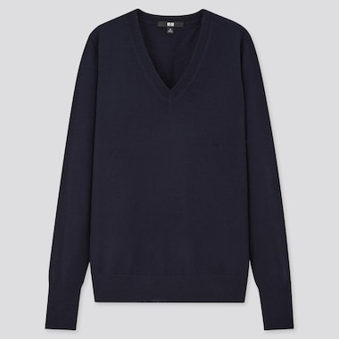 Women 100% Extra Fine Merino Wool V Neck Jumper
