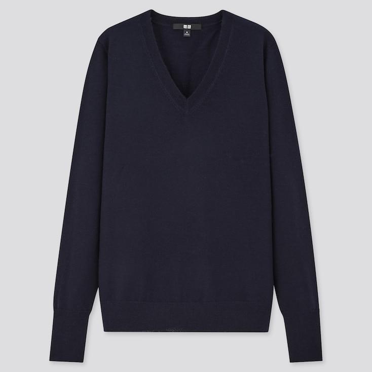 Women Extra Fine Merino V-Neck Sweater, Navy, Large