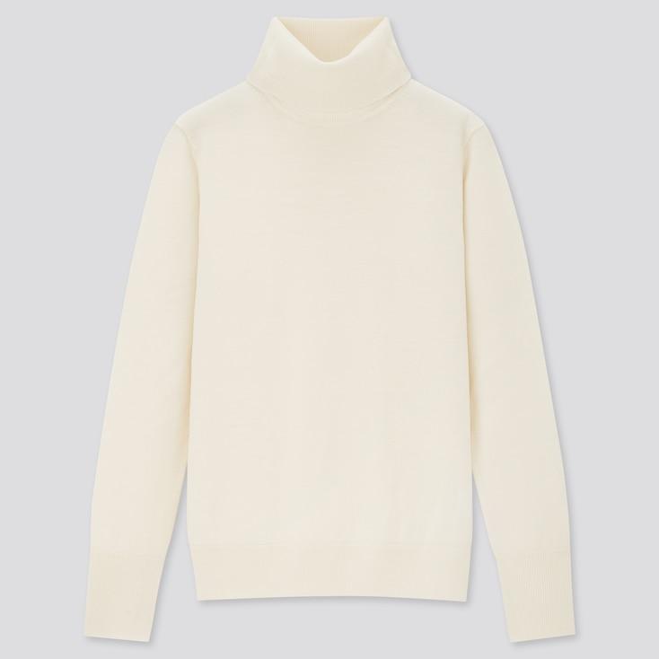 Women Extra Fine Merino Turtleneck Sweater, Off White, Large