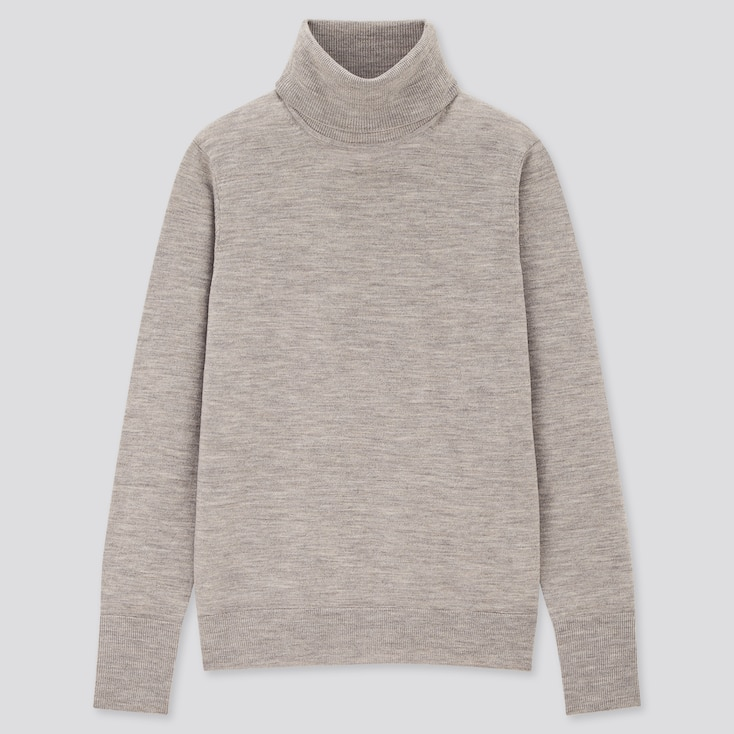 Women Extra Fine Merino Turtleneck Sweater, Gray, Large