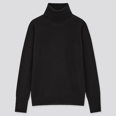 Women Extra Fine Merino Turtleneck Sweater, Black, Medium