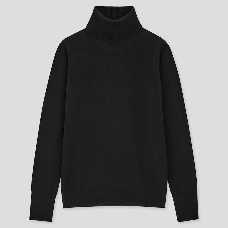 Women Extra Fine Merino Turtleneck Sweater, Black, Large