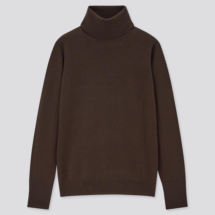 Women Extra Fine Merino Turtleneck Sweater, Dark Brown, Large