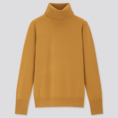 Women Extra Fine Merino Turtleneck Sweater, Mustard, Medium
