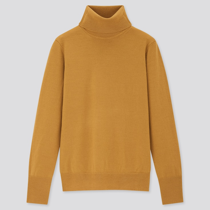 Women Extra Fine Merino Turtleneck Sweater, Mustard, Large