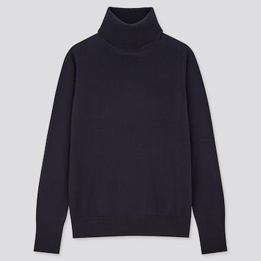 Women Extra Fine Merino Turtleneck Sweater, Navy, Medium