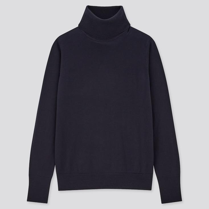 Women Extra Fine Merino Turtleneck Sweater, Navy, Large
