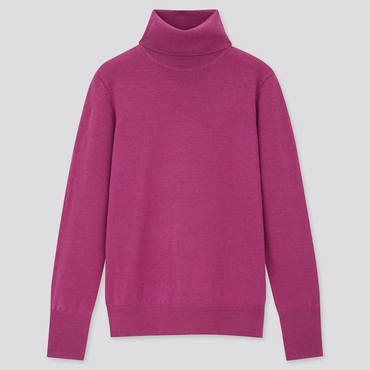Women Extra Fine Merino Turtleneck Sweater, Purple, Large