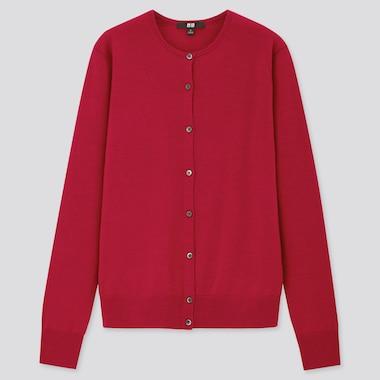 Women 100% Extra Fine Merino Wool Crew Neck Cardigan