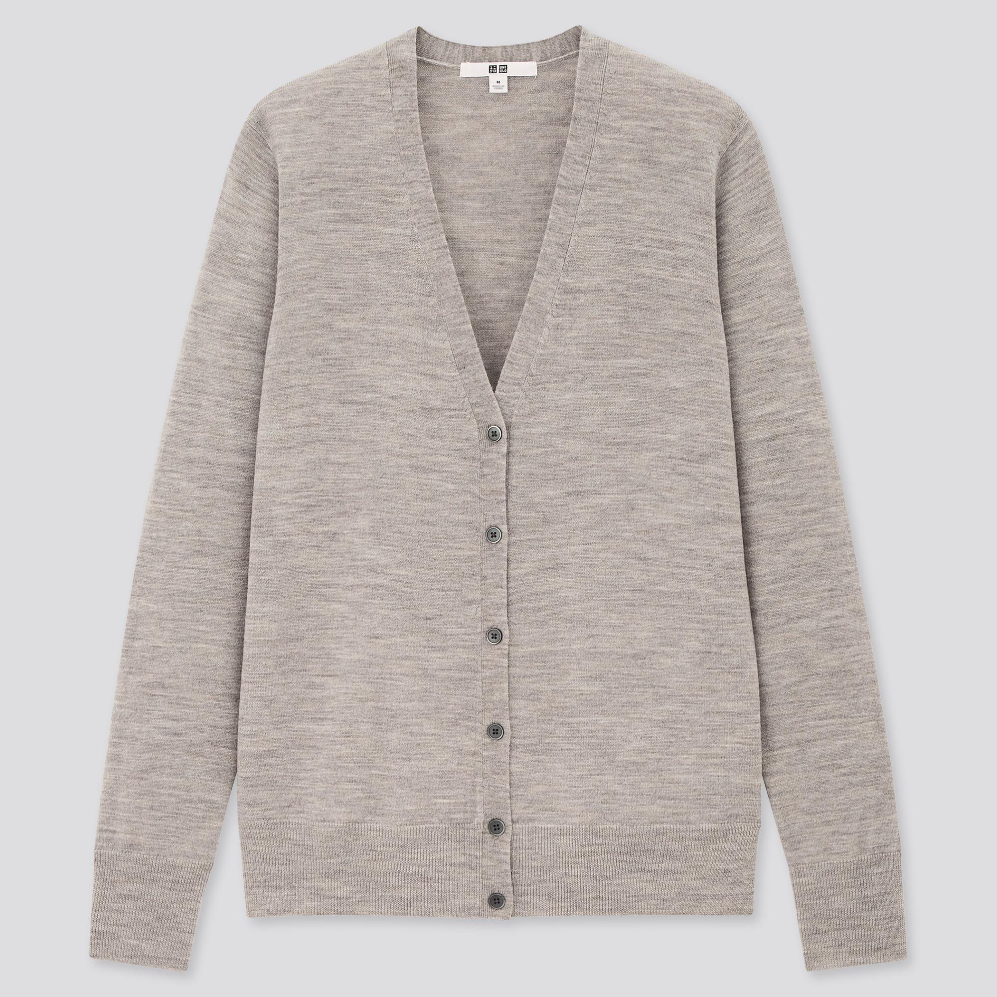 Women 100% Extra Fine Merino Wool V Neck Cardigan | UNIQLO